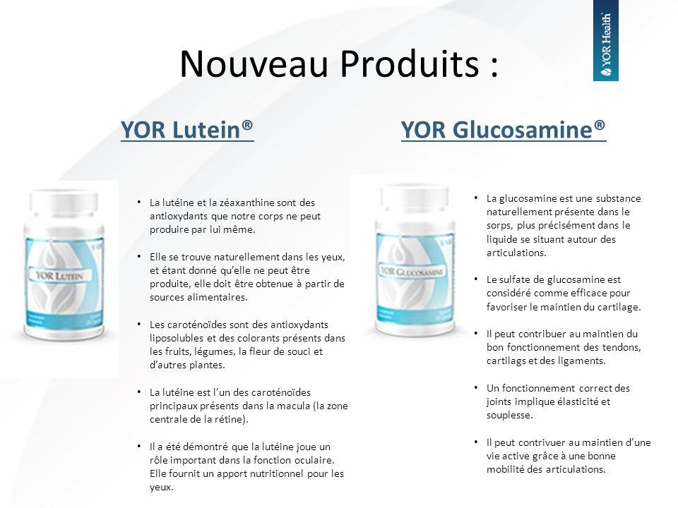 YOR Lutein®YOR Glucosamine® Nouveau Produits : La glucosamine est une substance naturellement présente dans le sorps, plus précisément dans le liquide