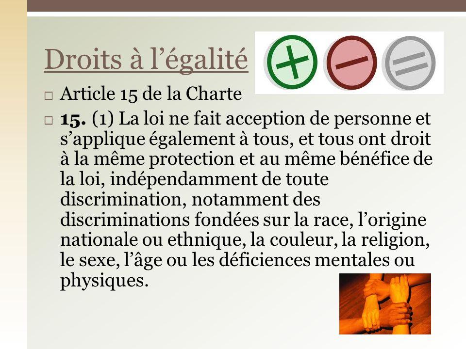 Article 15 de la Charte 15.