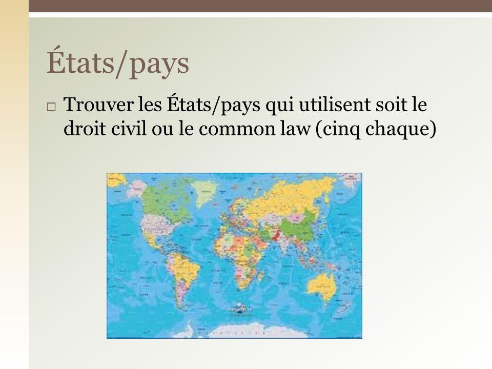 Trouver les États/pays qui utilisent soit le droit civil ou le common law (cinq chaque) États/pays