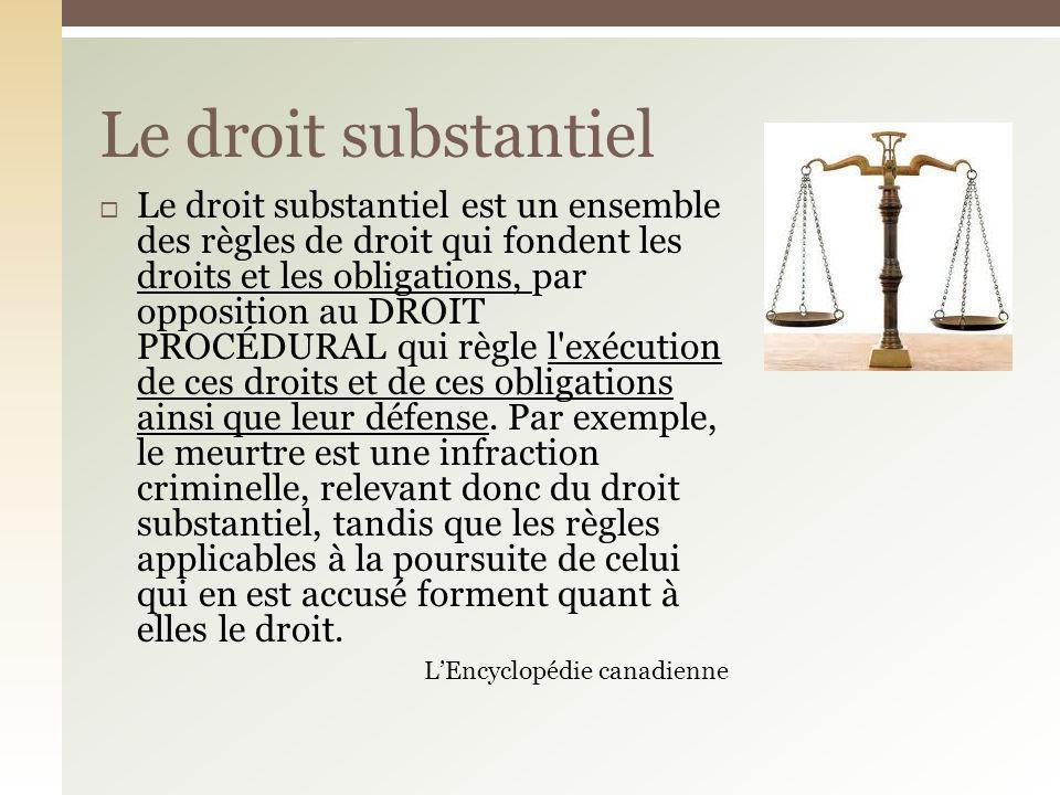 Le droit substantiel est un ensemble des règles de droit qui fondent les droits et les obligations, par opposition au DROIT PROCÉDURAL qui règle l'exé