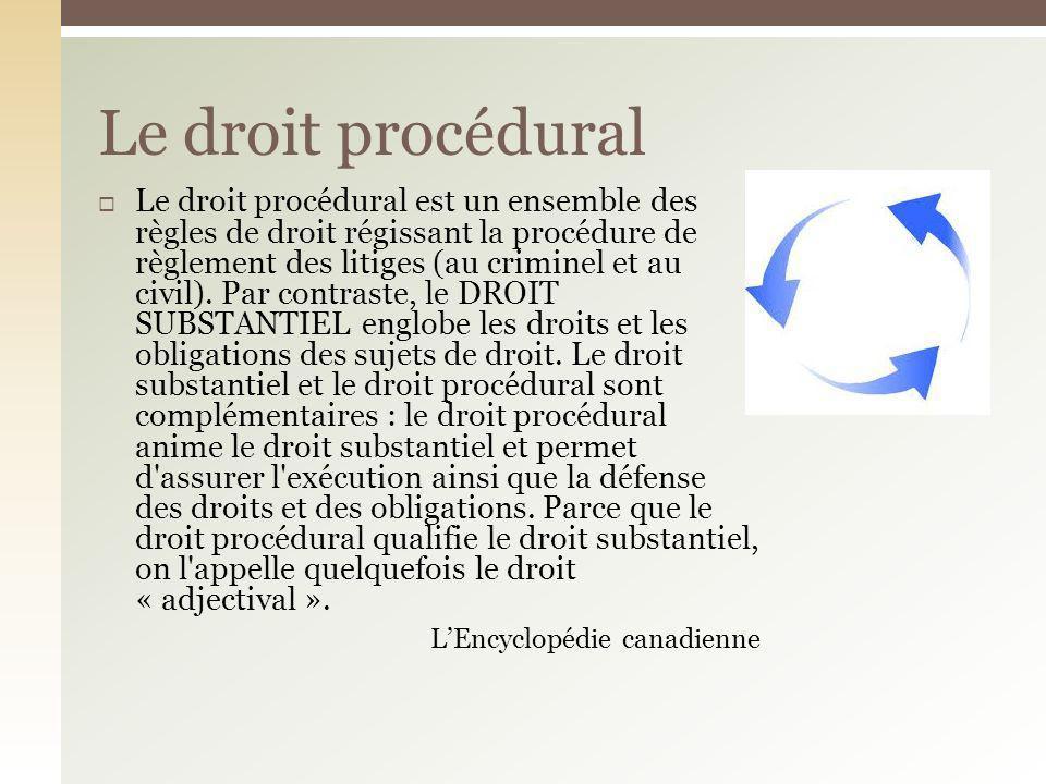 Le droit procédural est un ensemble des règles de droit régissant la procédure de règlement des litiges (au criminel et au civil). Par contraste, le D