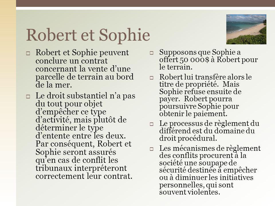 Robert et Sophie peuvent conclure un contrat concernant la vente dune parcelle de terrain au bord de la mer. Le droit substantiel na pas du tout pour