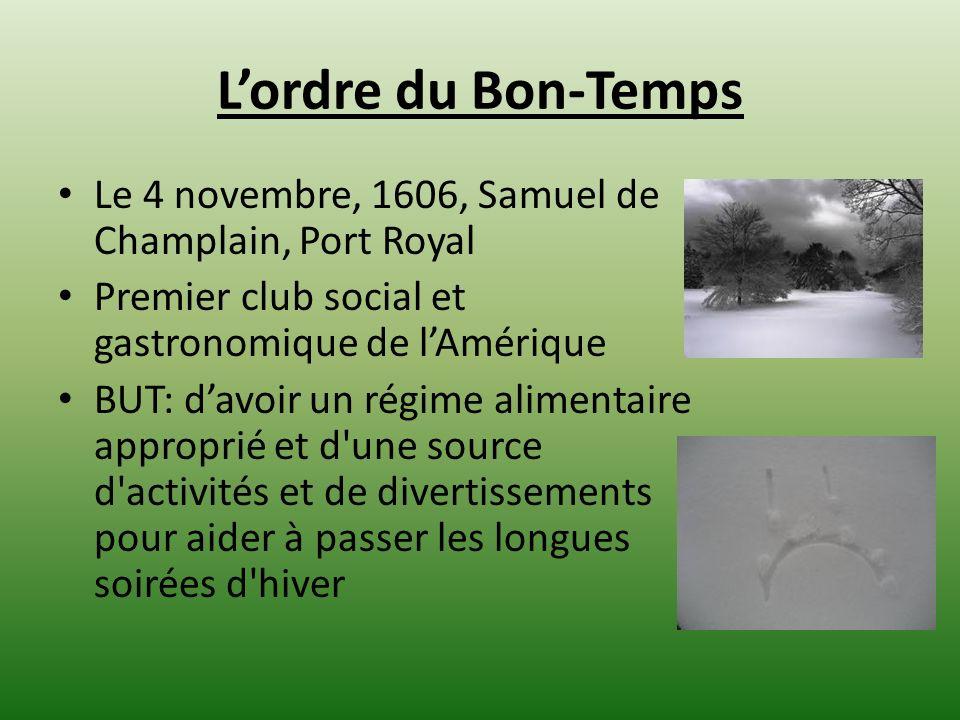 Lordre du Bon-Temps Le 4 novembre, 1606, Samuel de Champlain, Port Royal Premier club social et gastronomique de lAmérique BUT: davoir un régime alime