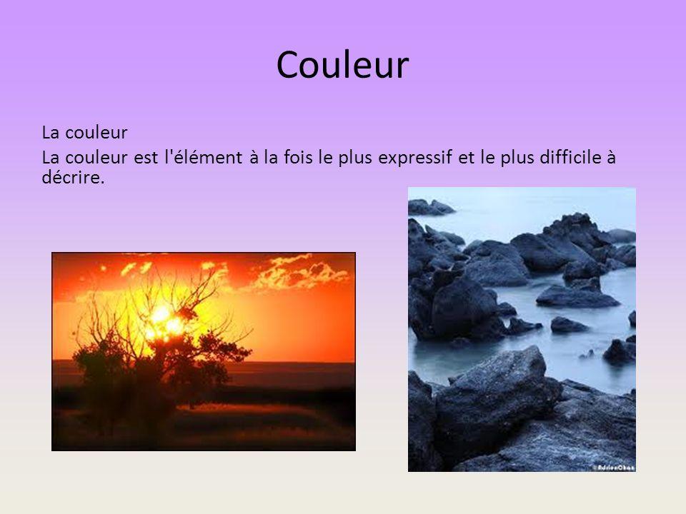Couleur La couleur La couleur est l'élément à la fois le plus expressif et le plus difficile à décrire.