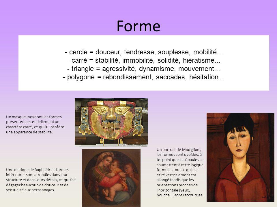 Forme - cercle = douceur, tendresse, souplesse, mobilité... - carré = stabilité, immobilité, solidité, hiératisme... - triangle = agressivité, dynamis