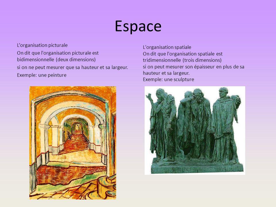 Espace Lorganisation picturale On dit que l'organisation picturale est bidimensionnelle (deux dimensions) si on ne peut mesurer que sa hauteur et sa l