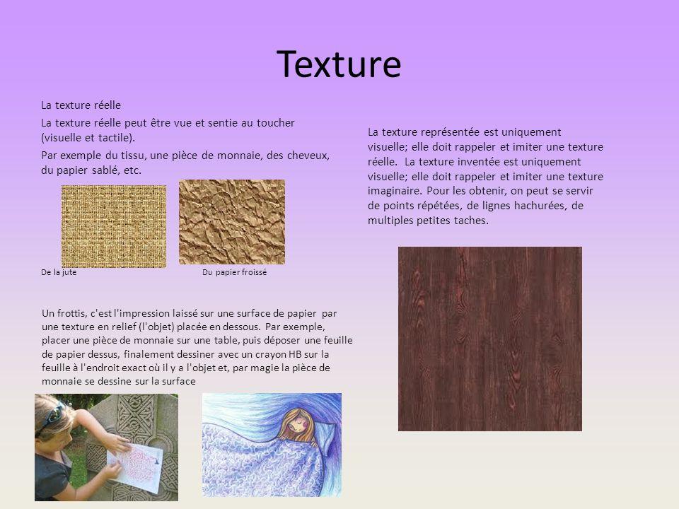Texture La texture réelle La texture réelle peut être vue et sentie au toucher (visuelle et tactile). Par exemple du tissu, une pièce de monnaie, des