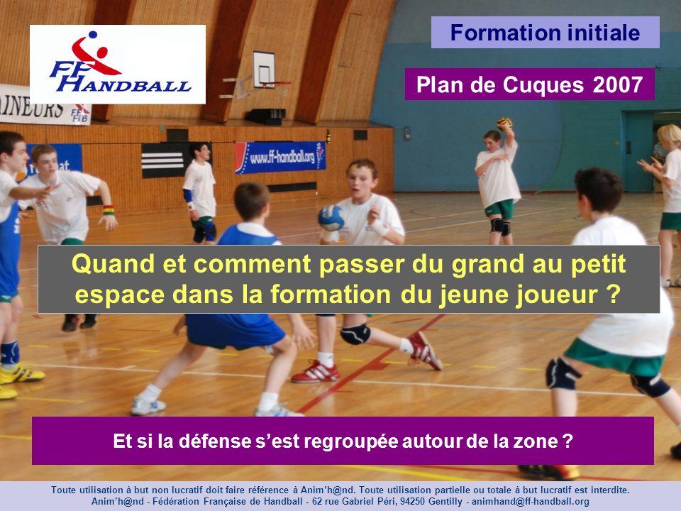 Formation initiale Plan de Cuques 2007 Quand et comment passer du grand au petit espace dans la formation du jeune joueur ? Et si la défense sest regr