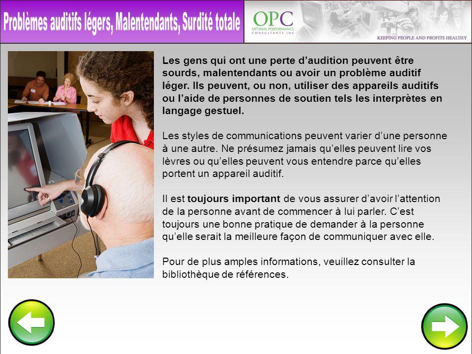 Les gens qui ont une perte daudition peuvent être sourds, malentendants ou avoir un problème auditif léger. Ils peuvent, ou non, utiliser des appareil