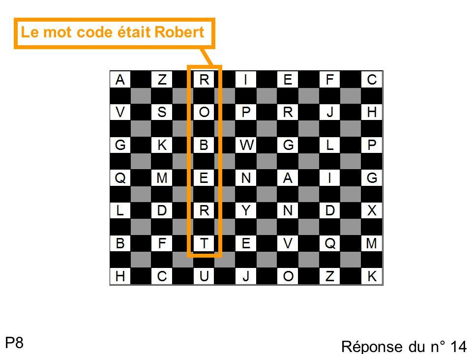 P8 Le mot code était Robert Réponse du n° 14