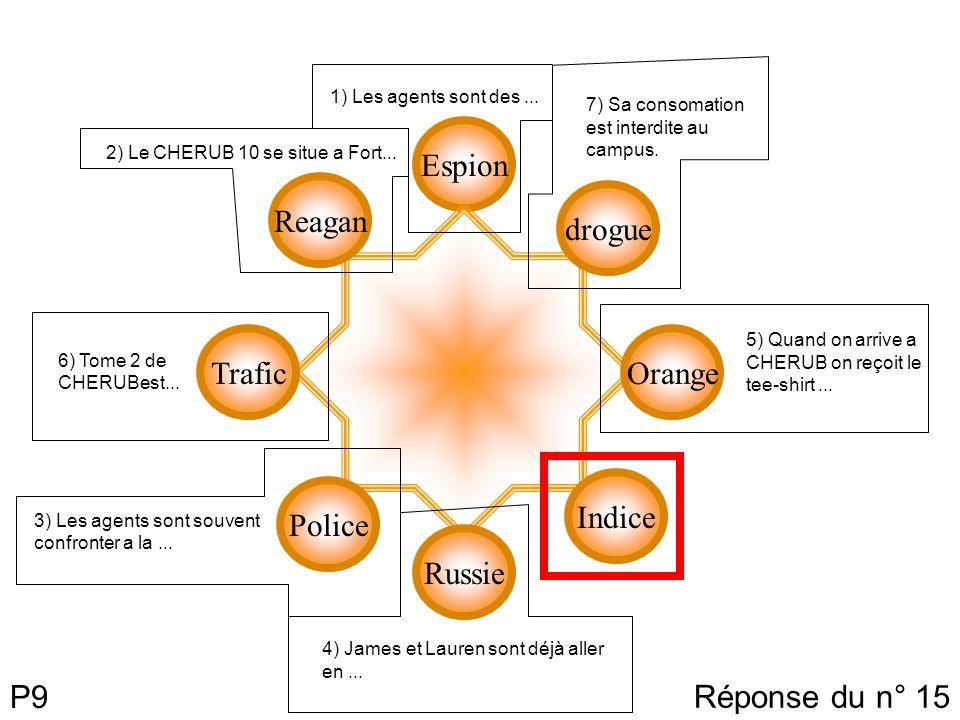 P9 Espion drogue Orange Indice Russie Reagan Trafic Police 7) Sa consomation est interdite au campus. 5) Quand on arrive a CHERUB on reçoit le tee-shi