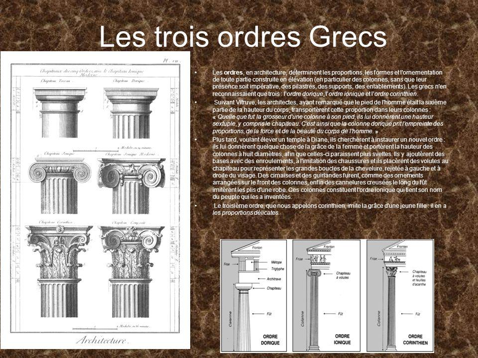 Les trois ordres Grecs Les ordres, en architecture, déterminent les proportions, les formes et l'ornementation de toute partie construite en élévation