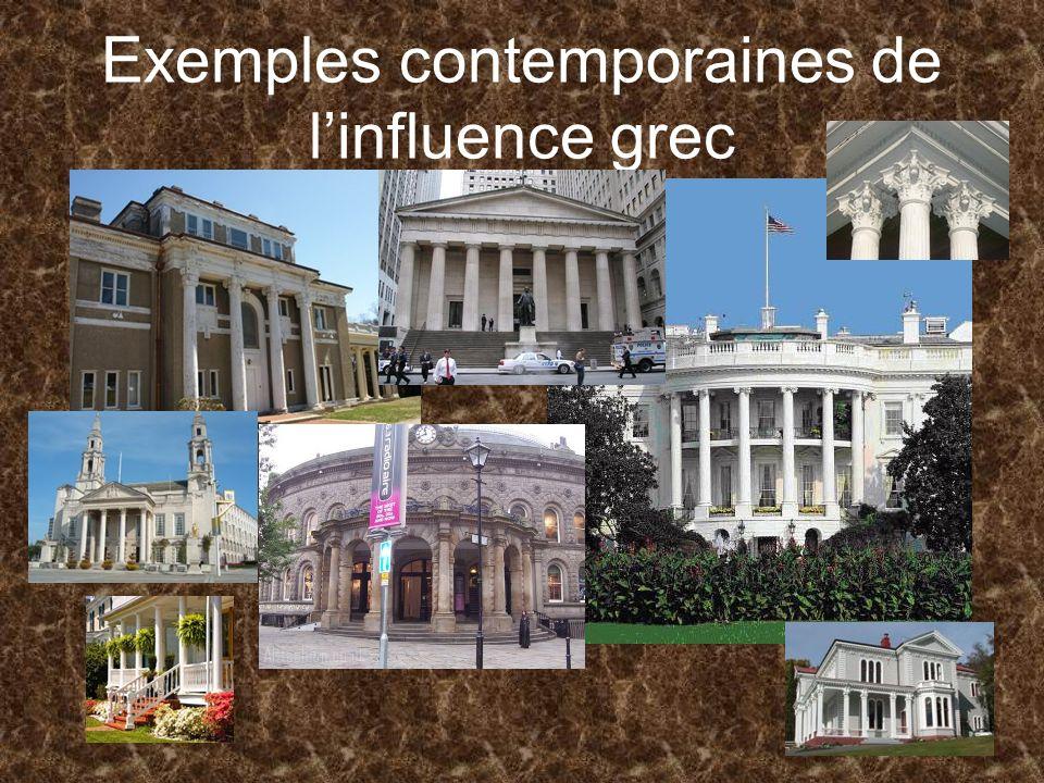 Exemples contemporaines de linfluence grec