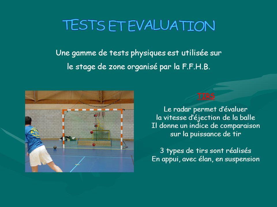 Une gamme de tests physiques est utilisée sur le stage de zone organisé par la F.F.H.B. TIRS Le radar permet dévaluer la vitesse déjection de la balle