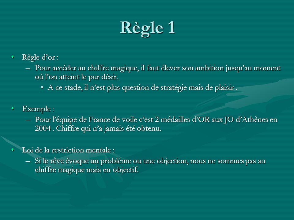 Règle 1 Règle dor :Règle dor : –Pour accéder au chiffre magique, il faut élever son ambition jusquau moment où lon atteint le pur désir. A ce stade, i