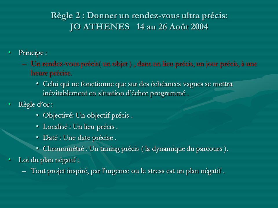 Règle 2 : Donner un rendez-vous ultra précis: JO ATHENES 14 au 26 Août 2004 Principe :Principe : –Un rendez-vous précis( un objet ), dans un lieu préc