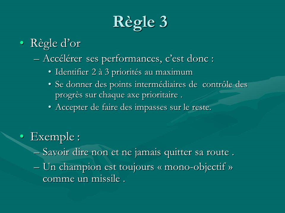 Règle 3 Règle dorRègle dor –Accélérer ses performances, cest donc : Identifier 2 à 3 priorités au maximumIdentifier 2 à 3 priorités au maximum Se donn