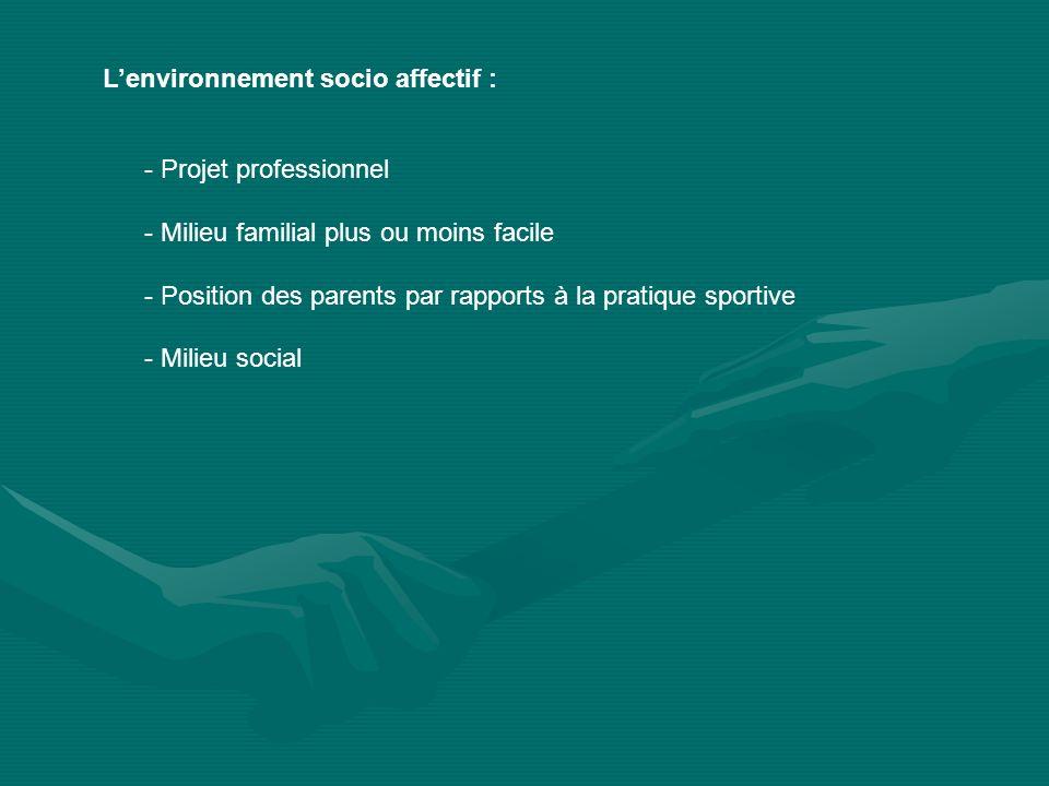 Lenvironnement socio affectif : - Projet professionnel - Milieu familial plus ou moins facile - Position des parents par rapports à la pratique sporti