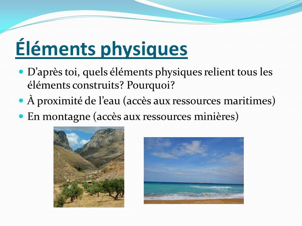 Éléments physiques Daprès toi, quels éléments physiques relient tous les éléments construits.