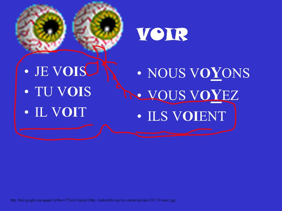 VOIR JE VOIS TU VOIS IL VOIT NOUS VOYONS VOUS VOYEZ ILS VOIENT http://tbn3.google.com/images q=tbn:wJT3xbw0qeojjM:http://distractible.org/wp-content/uploads/2007/09/neus1.jpg