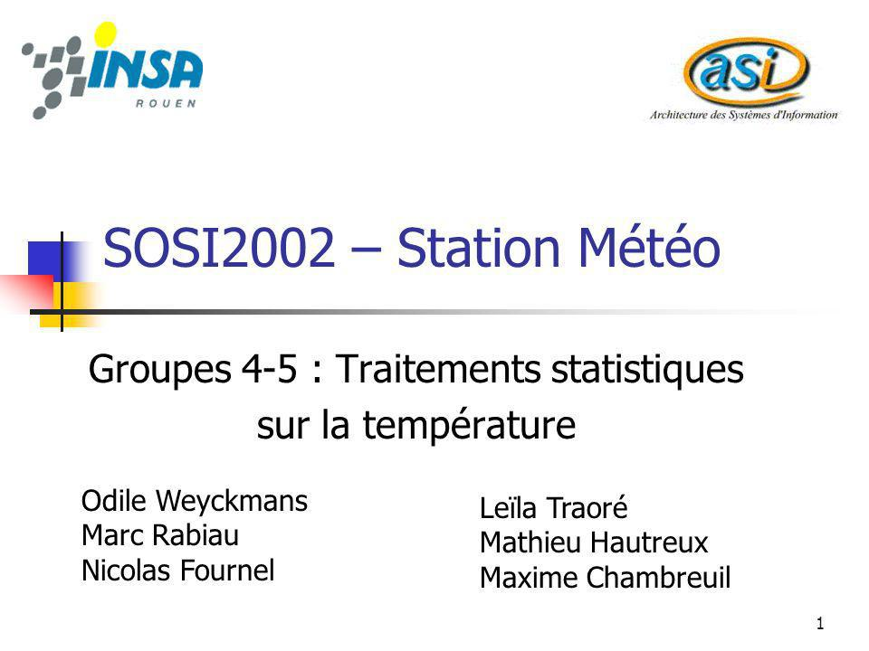 1 SOSI2002 – Station Météo Groupes 4-5 : Traitements statistiques sur la température Odile Weyckmans Marc Rabiau Nicolas Fournel Leïla Traoré Mathieu Hautreux Maxime Chambreuil
