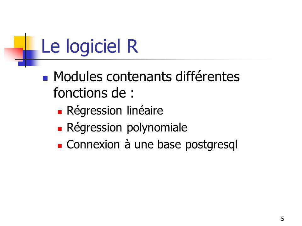 5 Le logiciel R Modules contenants différentes fonctions de : Régression linéaire Régression polynomiale Connexion à une base postgresql