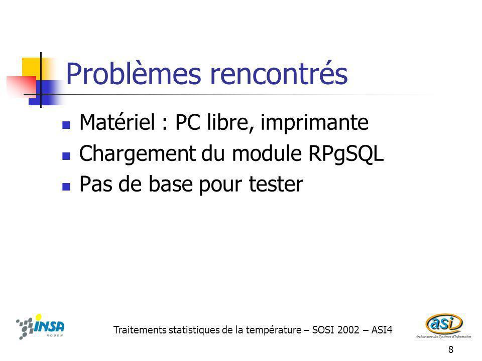 8 Problèmes rencontrés Matériel : PC libre, imprimante Chargement du module RPgSQL Pas de base pour tester Traitements statistiques de la température – SOSI 2002 – ASI4