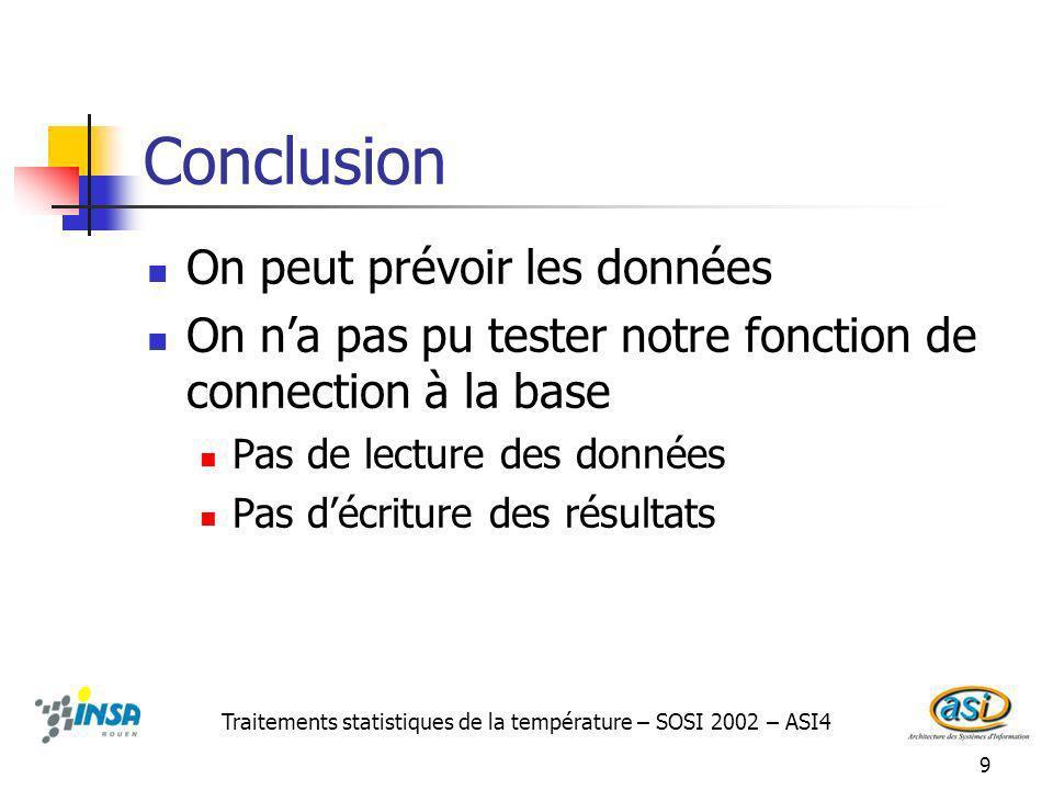 9 Conclusion On peut prévoir les données On na pas pu tester notre fonction de connection à la base Pas de lecture des données Pas décriture des résultats Traitements statistiques de la température – SOSI 2002 – ASI4