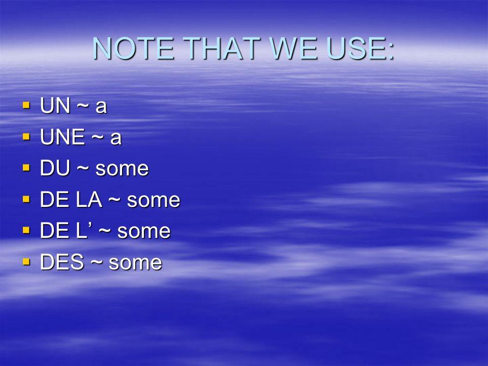 NOTE THAT WE USE: UN ~ a UN ~ a UNE ~ a UNE ~ a DU ~ some DU ~ some DE LA ~ some DE LA ~ some DE L ~ some DE L ~ some DES ~ some DES ~ some