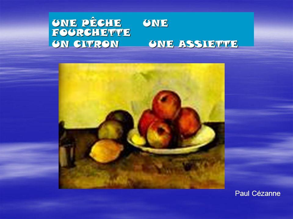 Paul Cézanne UNE PÊCHE UNE FOURCHETTE UN CITRON UNE ASSIETTE
