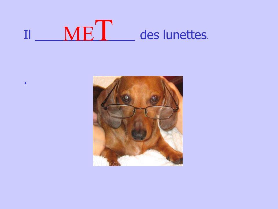 Il _______________ des lunettes.. ME T