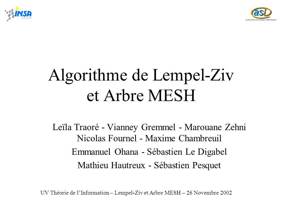 12 Architecture de lapplication Arbre en liste MESHListeMesh Lempel Ziv DicoMesh 1ère phase : 2ème phase : DicoMesh Article (N&B) Parcours & Colorisation Article avec les mots MESH en couleur Article ou les mots Non-MESH sont remplacés par « * » UV Théorie de lInformation – Lempel-Ziv et Arbre MESH – 26 Novembre 2002