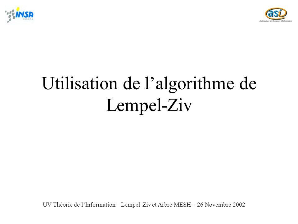 Utilisation de lalgorithme de Lempel-Ziv UV Théorie de lInformation – Lempel-Ziv et Arbre MESH – 26 Novembre 2002