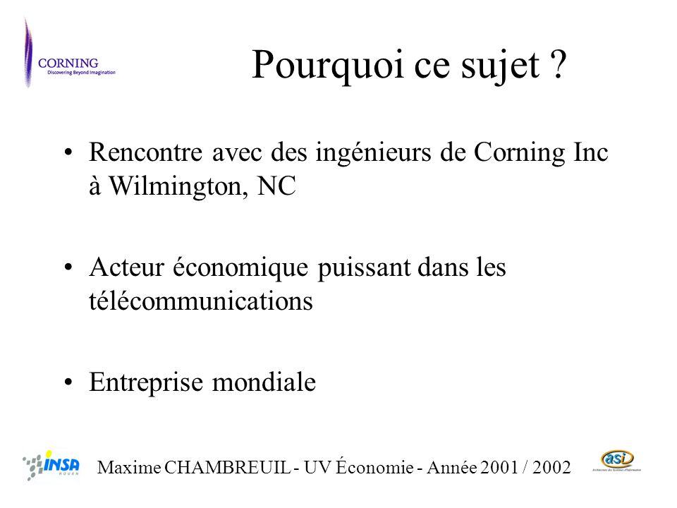 Rencontre avec des ingénieurs de Corning Inc à Wilmington, NC Acteur économique puissant dans les télécommunications Entreprise mondiale Maxime CHAMBREUIL - UV Économie - Année 2001 / 2002 Pourquoi ce sujet