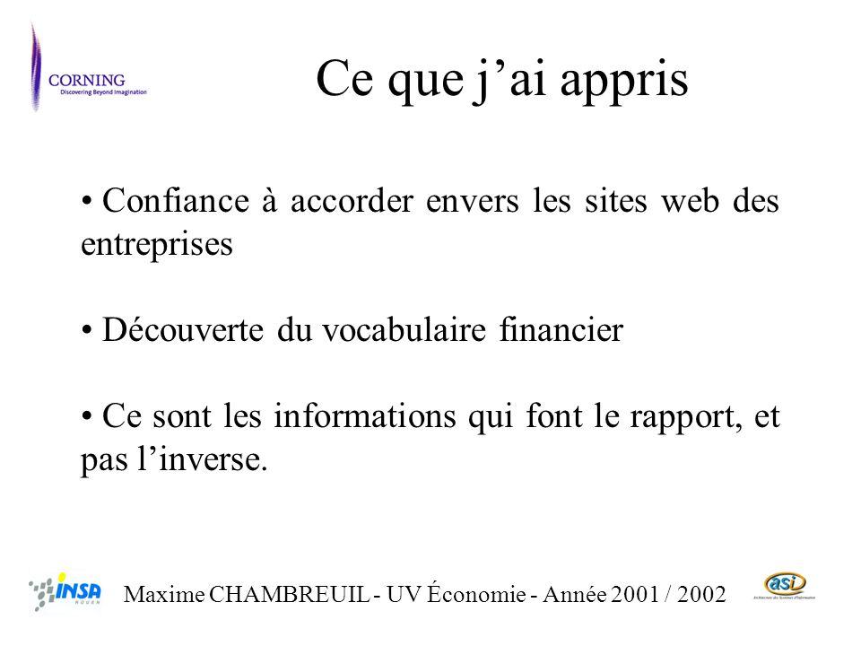 Ce que jai appris Maxime CHAMBREUIL - UV Économie - Année 2001 / 2002 Confiance à accorder envers les sites web des entreprises Découverte du vocabulaire financier Ce sont les informations qui font le rapport, et pas linverse.