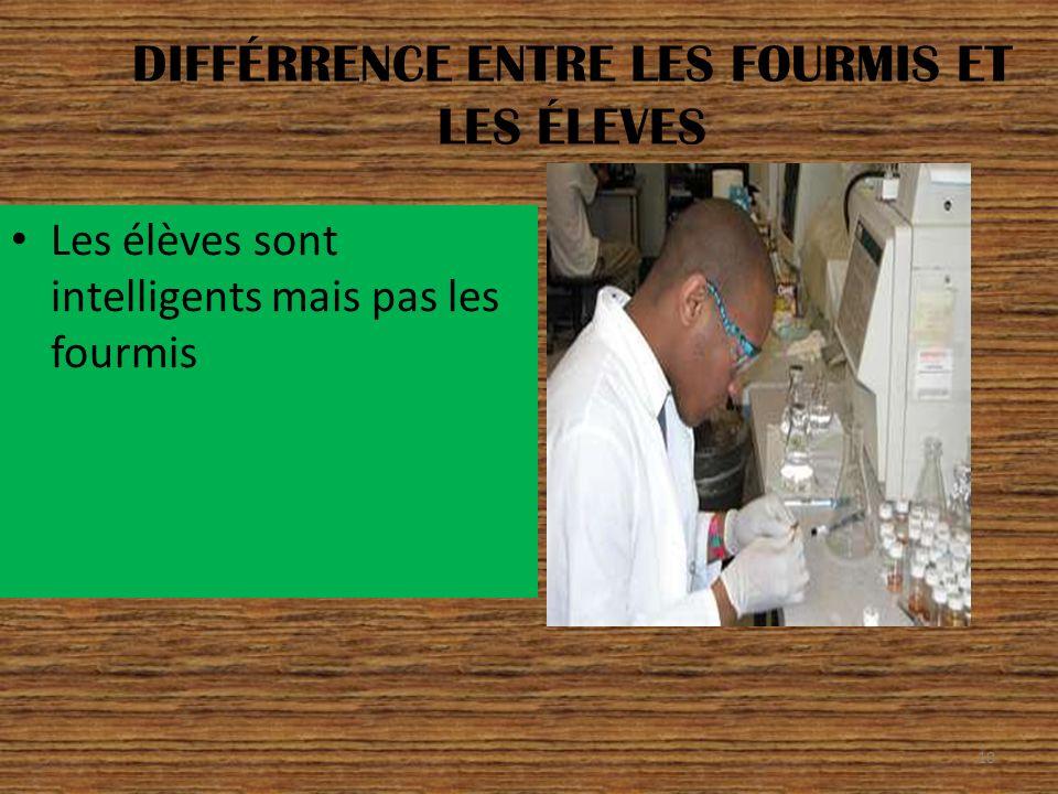 DIFFÉRRENCE ENTRE LES FOURMIS ET LES ÉLEVES Les élèves sont intelligents mais pas les fourmis 10