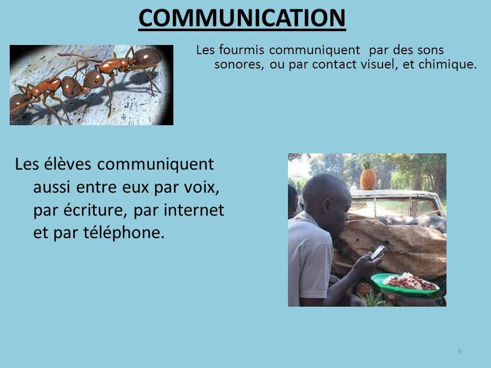 COMMUNICATION Les fourmis communiquent par des sons sonores, ou par contact visuel, et chimique. 6 Les élèves communiquent aussi entre eux par voix, p