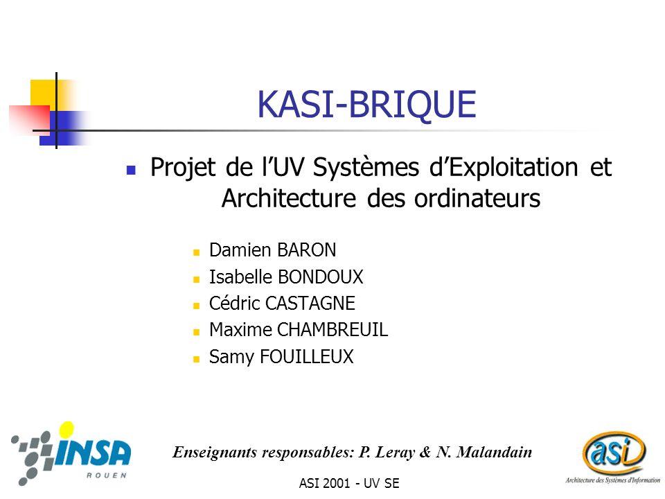 ASI 2001 - UV SE1 KASI-BRIQUE Projet de lUV Systèmes dExploitation et Architecture des ordinateurs Damien BARON Isabelle BONDOUX Cédric CASTAGNE Maxim