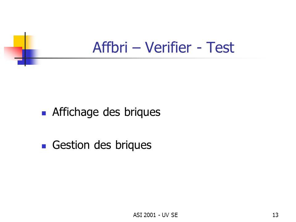 ASI 2001 - UV SE13 Affbri – Verifier - Test Affichage des briques Gestion des briques