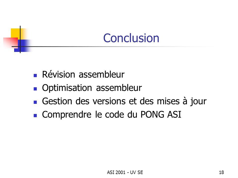 ASI 2001 - UV SE18 Conclusion Révision assembleur Optimisation assembleur Gestion des versions et des mises à jour Comprendre le code du PONG ASI