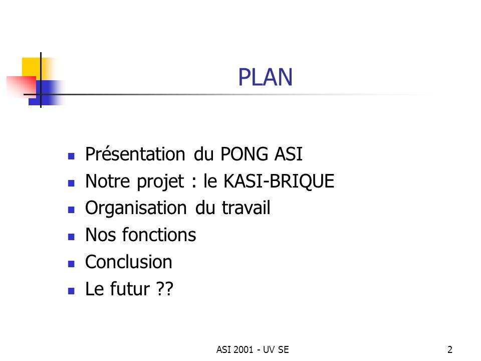 ASI 2001 - UV SE2 PLAN Présentation du PONG ASI Notre projet : le KASI-BRIQUE Organisation du travail Nos fonctions Conclusion Le futur ??