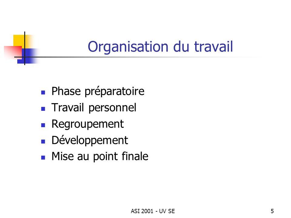 ASI 2001 - UV SE5 Organisation du travail Phase préparatoire Travail personnel Regroupement Développement Mise au point finale