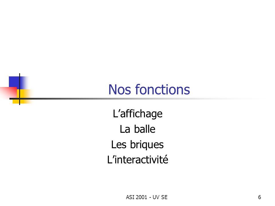 ASI 2001 - UV SE6 Nos fonctions Laffichage La balle Les briques Linteractivité