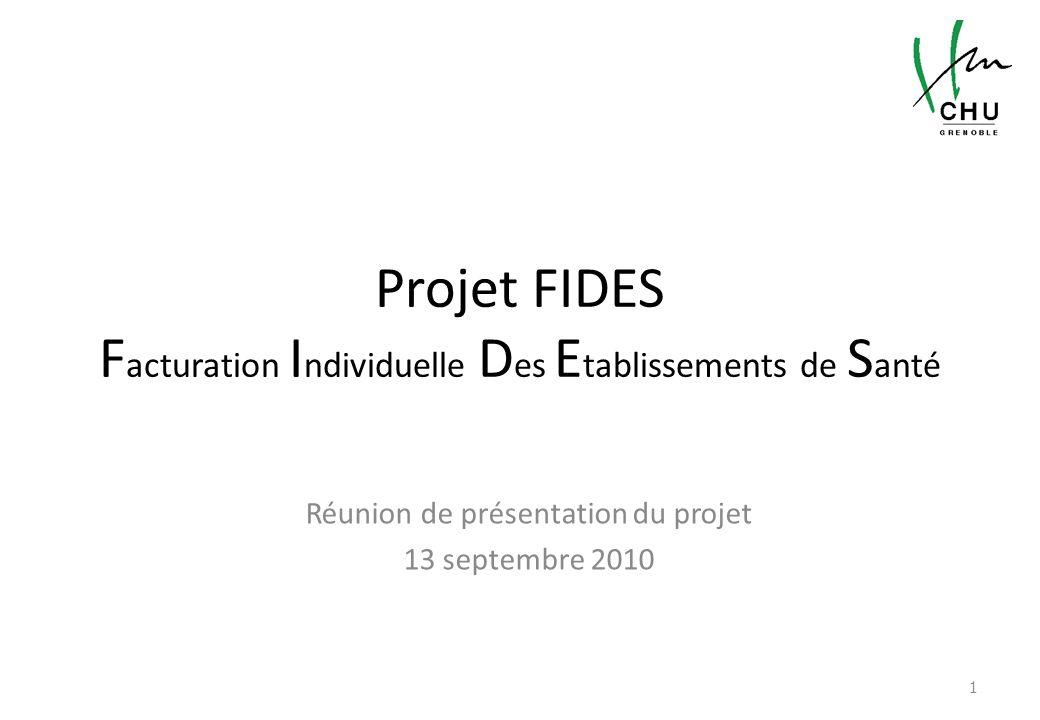 Projet FIDES F acturation I ndividuelle D es E tablissements de S anté Réunion de présentation du projet 13 septembre 2010 1
