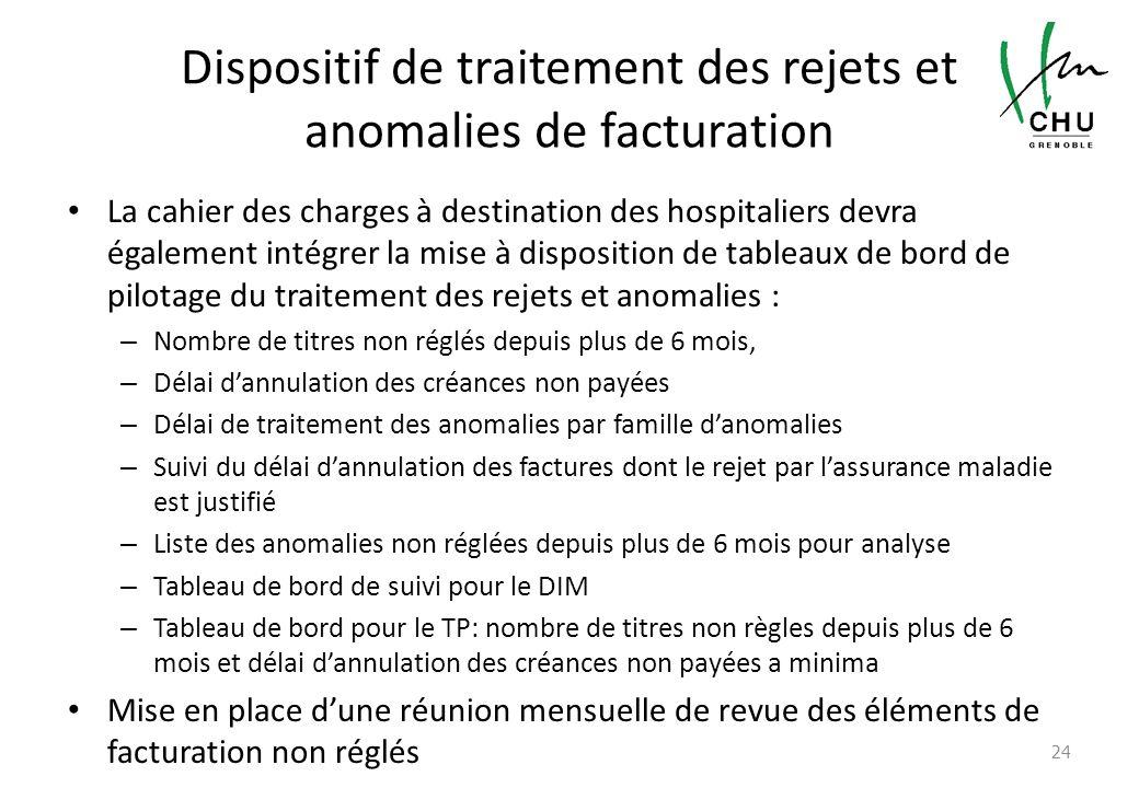 Dispositif de traitement des rejets et anomalies de facturation La cahier des charges à destination des hospitaliers devra également intégrer la mise
