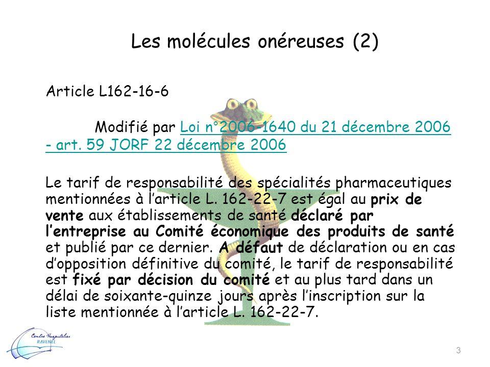 Les molécules onéreuses (2) 3 Article L162-16-6 Modifié par Loi n°2006-1640 du 21 décembre 2006 - art. 59 JORF 22 décembre 2006Loi n°2006-1640 du 21 d