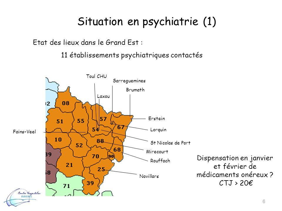 Situation en psychiatrie (1) 6 Etat des lieux dans le Grand Est : 11 établissements psychiatriques contactés Sarreguemines Brumath Erstein Lorquin Lax