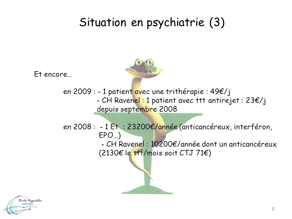 Situation en psychiatrie (3) 8 Et encore… en 2009 : - 1 patient avec une trithérapie : 49/j - CH Ravenel : 1 patient avec ttt antirejet : 23/j depuis