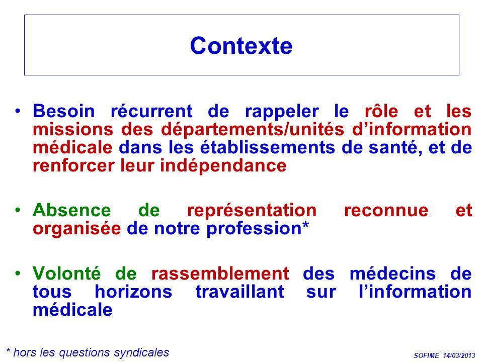Contexte Besoin récurrent de rappeler le rôle et les missions des départements/unités dinformation médicale dans les établissements de santé, et de re