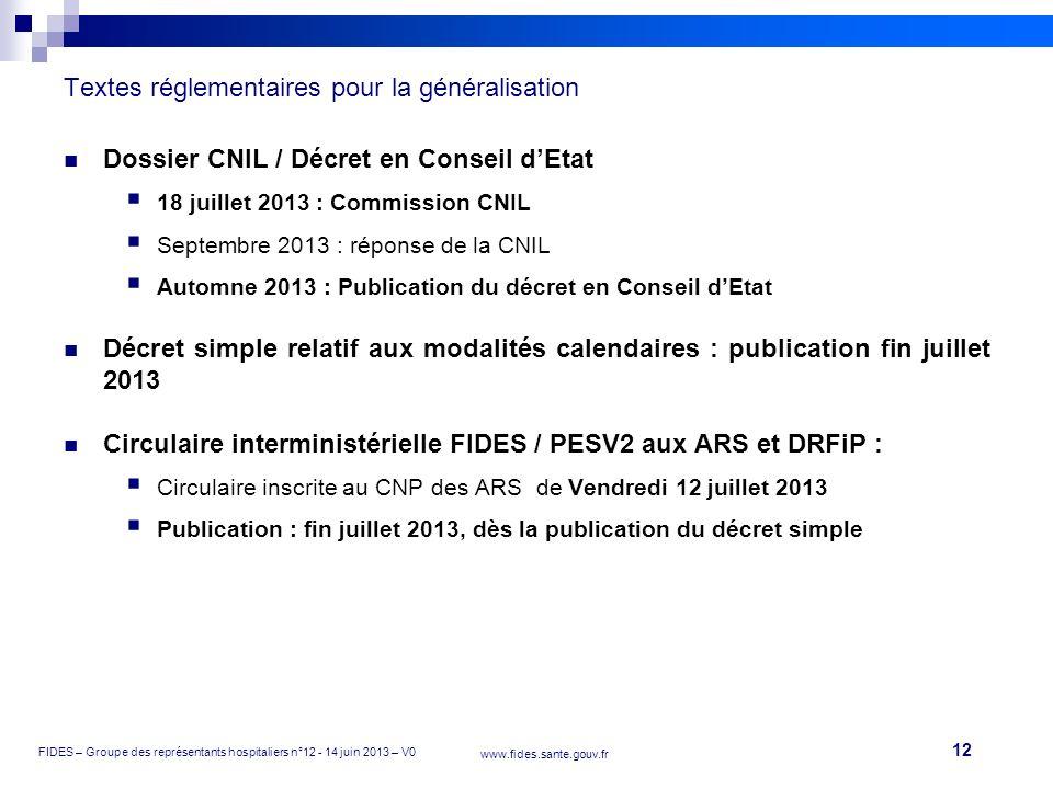 12 FIDES – Groupe des représentants hospitaliers n°12 - 14 juin 2013 – V0 www.fides.sante.gouv.fr Textes réglementaires pour la généralisation Dossier